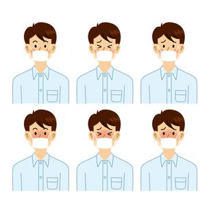 マスクをする男性の表情パターンのイラスト素材 [FYI04890117]