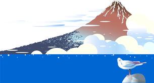 浮世絵の富士山と夏の積乱雲の湧く海にカモメのイラスト素材 [FYI04890269]
