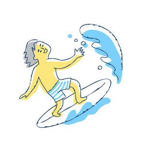 サーフィンを楽しんでいる男性のイラスト素材 [FYI04890332]