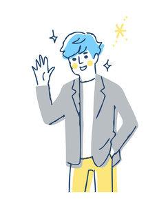 笑顔で手を振る若い男性のイラスト素材 [FYI04890336]