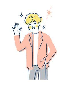 笑顔で手を振る若い男性のイラスト素材 [FYI04890337]