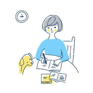 丸テーブルでノートに記入している女性のイラスト素材 [FYI04890340]