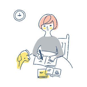 丸テーブルでノートに記入している女性のイラスト素材 [FYI04890341]