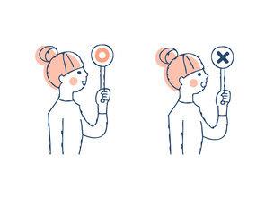 丸とバツのプラカードを持つ女性のイラスト素材 [FYI04890347]