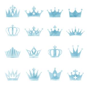 水彩画タッチの王冠イラストセットのイラスト素材 [FYI04891362]