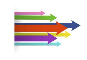 前進するカラフルな矢印の集団のイラスト素材 [FYI04891507]