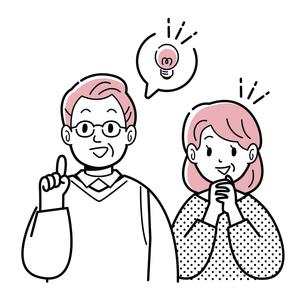 シニア夫婦 C ひらめき 線画のイラスト素材 [FYI04892379]