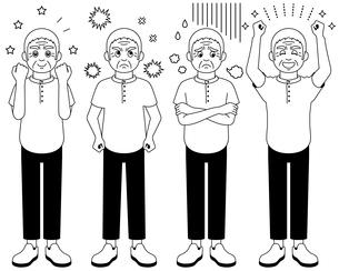喜怒哀楽を全身で表現するおじいさんのイラスト【白黒】のイラスト素材 [FYI04892795]