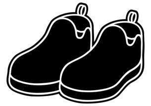 カジュアルシューズの白黒イラストのイラスト素材 [FYI04892799]
