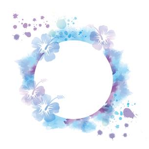 インクと水彩画タッチのハイビスカス背景のイラスト素材 [FYI04893524]