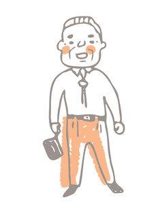 笑顔で立っているおじいちゃんのイラスト素材 [FYI04893579]