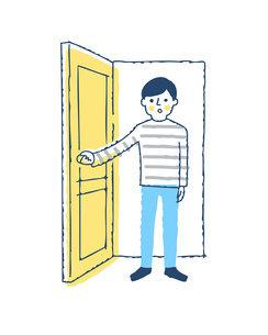 ドアを開ける男性のイラスト素材 [FYI04893580]