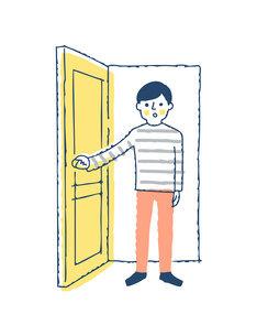 ドアを開ける男性のイラスト素材 [FYI04893581]