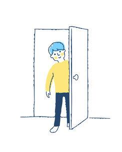 ドアを開ける男性のイラスト素材 [FYI04893582]