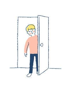 ドアを開ける男性のイラスト素材 [FYI04893583]