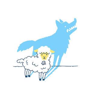 かわいい羊とオオカミのシルエットのイラスト素材 [FYI04893588]