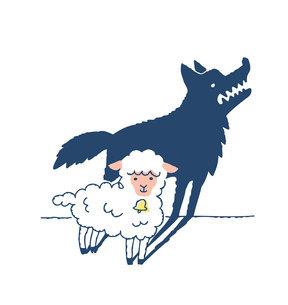 かわいい羊とオオカミのシルエットのイラスト素材 [FYI04893589]