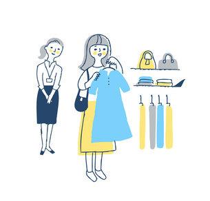 洋服を選んでいる若い女性のイラスト素材 [FYI04893596]