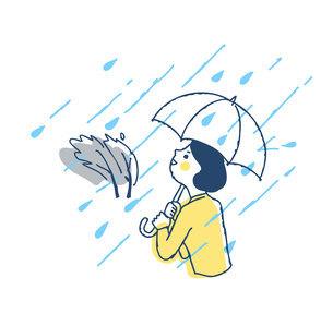 豪雨の中傘をさして歩く女性のイラスト素材 [FYI04893598]