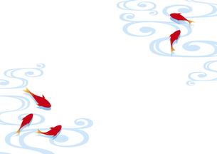 金魚と流水紋の和風背景のイラスト素材 [FYI04893609]