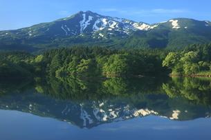 6月 残雪の逆さ鳥海山の写真素材 [FYI04893619]