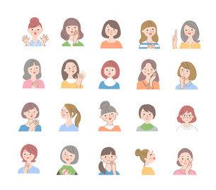 さまざまな笑顔の女性 バストアップ セットのイラスト素材 [FYI04893748]