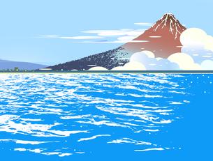 夏の海と浮世絵の富士山のイラスト素材 [FYI04894019]