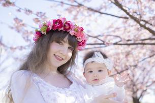 桜を楽しむ赤ちゃんとお母さんの写真素材 [FYI04894416]