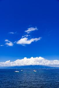 沼津土肥線西浦木負付近より青空の夏雲に駿河湾と富士市方面を望むの写真素材 [FYI04894501]
