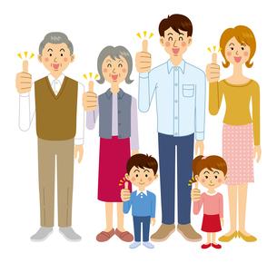 goodポーズをする家族集合のイラスト素材 [FYI04894599]