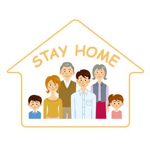 ステイホームをする家族のイラスト素材 [FYI04894609]