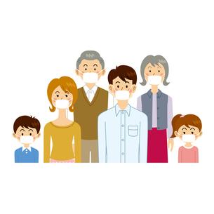 マスクをする家族のイラスト素材 [FYI04894610]