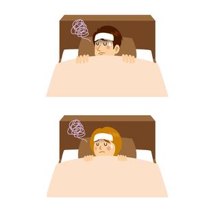 発熱して寝込む男女のイラスト素材 [FYI04894611]