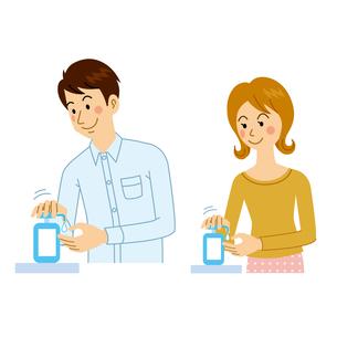 手を洗剤で洗う男女のイラスト素材 [FYI04894613]