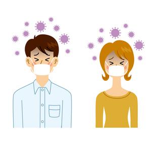 ウイルスに感染する男女のイラスト素材 [FYI04894618]