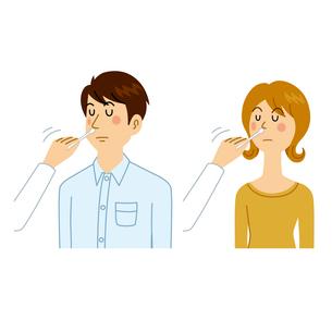 感染検査をする男女のイラスト素材 [FYI04894621]