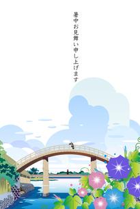 浮世絵の橋に朝顔の和風の街並みの暑中見舞いのイラスト素材 [FYI04894645]