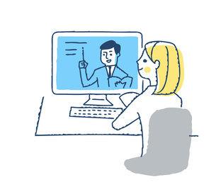 デスクトップパソコンを使う若い女性のイラスト素材 [FYI04894801]