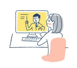 デスクトップパソコンを使う若い女性のイラスト素材 [FYI04894802]