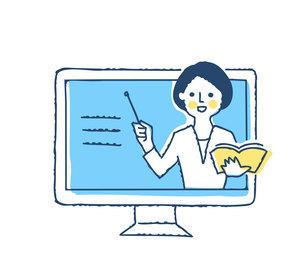 デスクトップパソコンと説明する女性の動画のイラスト素材 [FYI04894803]
