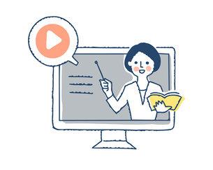 デスクトップパソコンと説明する女性の動画のイラスト素材 [FYI04894804]