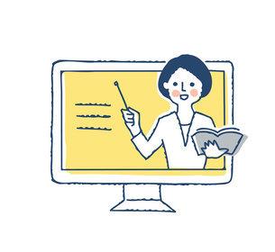デスクトップパソコンと説明する女性のイラスト素材 [FYI04894805]