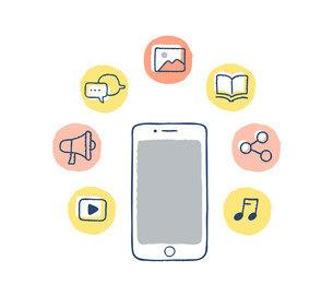 スマートフォンとデジタルコンテンツアイコンのイラスト素材 [FYI04894807]