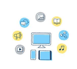 通信機器とデジタルコンテンツ アイコンのイラスト素材 [FYI04894811]