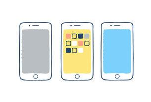 スマートフォン3台のイラスト素材 [FYI04894813]