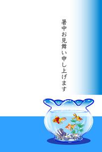 暑中見舞いのハガキテンプレート,金魚のイラスト素材 [FYI04895309]