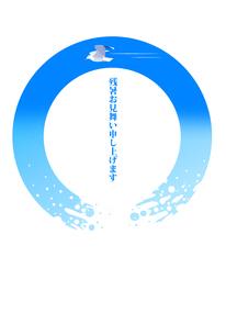 残暑お見舞いのハガキテンプレートイラストのカモメのイラスト素材 [FYI04895614]