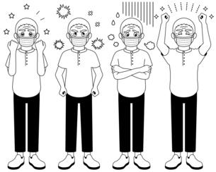 マスクをして喜怒哀楽を全身で表現するおじいさん【白黒イラスト】のイラスト素材 [FYI04896278]