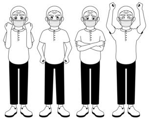 全身で感情を表現するおじいさん【白黒イラスト】のイラスト素材 [FYI04896279]