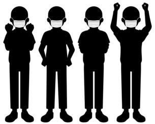 マスクをしている人物のシルエットイラスト【白黒】のイラスト素材 [FYI04896280]